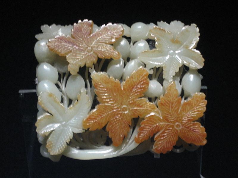 Jade ornament with grape design