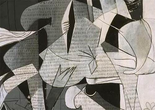 Picasso's black and white color scheme is a homage to newspapers