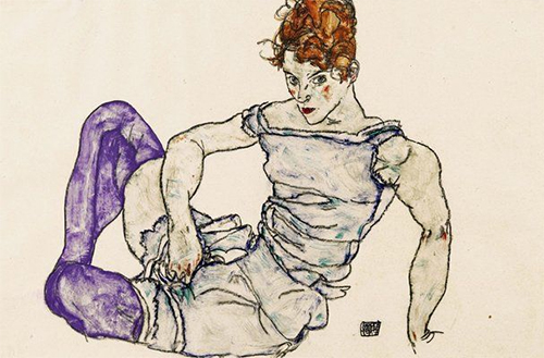Seated Woman in Violet Stockings (1917) by Egon Schiele