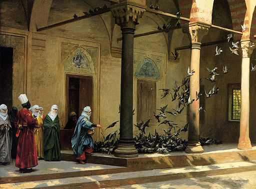 Gérôme - Harem Women Feeding Pigeons in a Courtyard