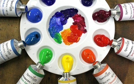 acrylic paints on a palette