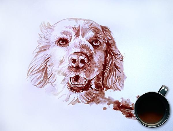 Coffee Dog Painting